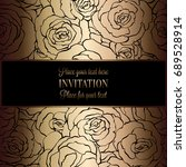 abstract background with roses  ... | Shutterstock . vector #689528914