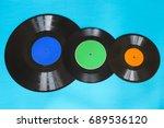old vintage vinyl records on... | Shutterstock . vector #689536120