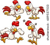 cartoon chicken with different... | Shutterstock .eps vector #689537533