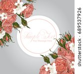 vector pink roses frame template | Shutterstock .eps vector #689537926
