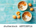 natural yoghurt with pieces of... | Shutterstock . vector #689538916