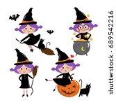 Cute Witch Vector Set  Halloween