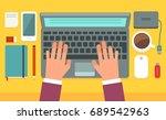 workspace. editable vector... | Shutterstock .eps vector #689542963