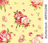 seamless watercolor pink roses... | Shutterstock . vector #689551048