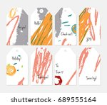 hand drawn creative tags.... | Shutterstock .eps vector #689555164
