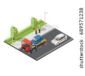 isometric car evacuating... | Shutterstock .eps vector #689571238