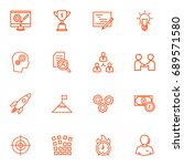 set of 16 idea outline icons... | Shutterstock .eps vector #689571580