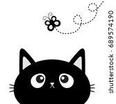 black cat head silhouette... | Shutterstock . vector #689574190