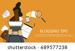 writing a story or column for...   Shutterstock .eps vector #689577238