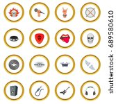 rock music icons circle gold in ... | Shutterstock . vector #689580610