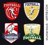 set of vintage football emblems ... | Shutterstock .eps vector #689581534