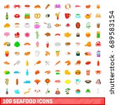 100 seafood icons set in... | Shutterstock . vector #689583154