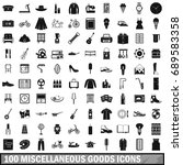 100 miscellaneous goods icons set in simple style for any design  illustration