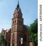 sacred heart church in lubeck ... | Shutterstock . vector #689584048