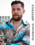 handsome stylish bearded man in ... | Shutterstock . vector #689593414