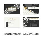 set of business cards with hand ... | Shutterstock .eps vector #689598238