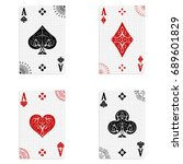 Set Of Four Aces Of A Deck Of...