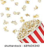 popcorn   pop corn in striped... | Shutterstock . vector #689604340