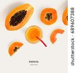creative layout made of papaya... | Shutterstock . vector #689607388