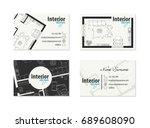 business card for interior...   Shutterstock .eps vector #689608090