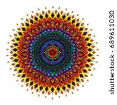 vector color vintage mandala... | Shutterstock .eps vector #689611030