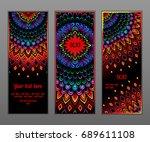 vector colorful mandala card set | Shutterstock .eps vector #689611108