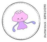 jellyfish isolated on white...   Shutterstock .eps vector #689614390