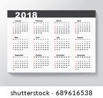 calendar template for 2018 year.... | Shutterstock . vector #689616538