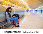 woman at the airport using... | Shutterstock . vector #689617843