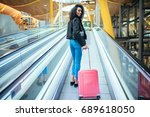 black woman in the moving...   Shutterstock . vector #689618050