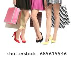 young women with beautiful legs ... | Shutterstock . vector #689619946