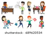 man sitting at the table with...   Shutterstock .eps vector #689620534