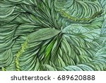 green leaves pattern | Shutterstock . vector #689620888