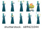 young muslim pregnant woman set.... | Shutterstock .eps vector #689621044