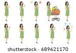 young caucasian pregnant woman... | Shutterstock .eps vector #689621170