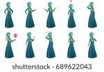 young muslim business woman set.... | Shutterstock .eps vector #689622043