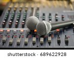 dual microphones put on the... | Shutterstock . vector #689622928