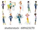 business woman  stewardess ... | Shutterstock .eps vector #689623270