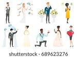 groom  bride and wedding scenes ... | Shutterstock .eps vector #689623276