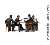 men sitting at table in a... | Shutterstock . vector #689624998
