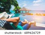 man traveler relaxing near... | Shutterstock . vector #689626729