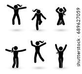 stick figure happiness  freedom ... | Shutterstock .eps vector #689627059
