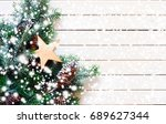 christmas background with xmas... | Shutterstock . vector #689627344