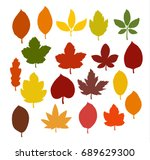 Autumn leaves silhouettes collection. Vector eps10.