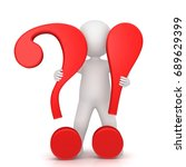 question exclamation mark 3d...   Shutterstock . vector #689629399