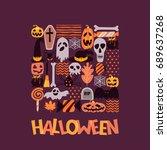 vector halloween square... | Shutterstock .eps vector #689637268