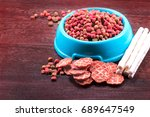 Stock photo delicious of dog snack dog food dog chews dog biscuits on white background 689647549