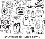 hand drawn halloween seamless... | Shutterstock .eps vector #689655943