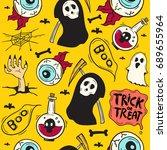 cartoon halloween seamless... | Shutterstock .eps vector #689655964