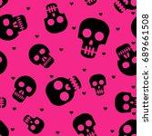 cute human skulls seamless... | Shutterstock .eps vector #689661508